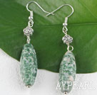 green jasper earrings with tibet silver flower