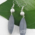 leaf shape gray stone needle earrings