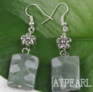 Wholesale chunky style green jade earrings with flower charm