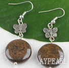 chic gold jasper earrings with butterfly charm