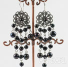 chandelier shape 6-8mm black pearl earrings