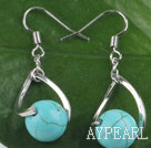 Beautiful Simple Style 10Mm Turquoise Ball Twisted Loop Dangle Earrings With Fish Hook