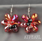 Wholesale Fashion Style Red Series Red and Colorful Crystal Flower Earrings