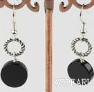 Fashion 12Mm Flat Round Black Agate And Loops Metal Charm Dangle Earrings With Fish Hook