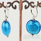 Wholesale Flat Round Blue Colored Glaze Earings