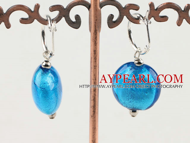 Lovely Simple Style Flat Round Blue Colored Glaze Earings With Ear Hoops