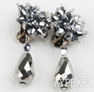 Wholesale Big Style Silver Color Faceted Drop Crystal Clip Earrings