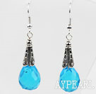 Wholesale Classic Design Lake Blue Color Drop Shape Faceted Crystal Earrings