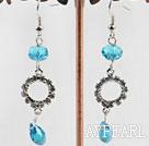 Wholesale dangling blue manmade crystal earrings with rhinestone