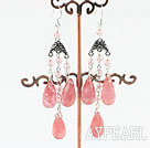 Wholesale chandelier style drop shape cherry quartze earrings