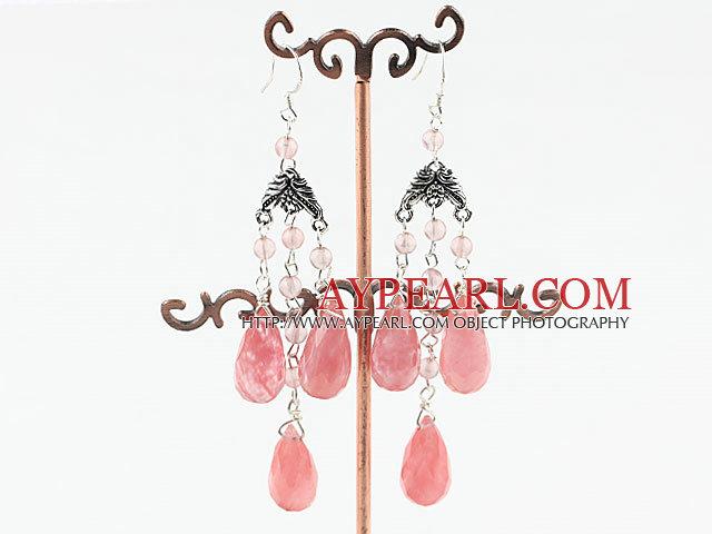 chandelier style drop shape cherry quartze earrings
