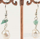 aventurine white pearl earrings with 925 silver hook