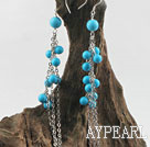 dangling 6-8mm turquoise ball earrings
