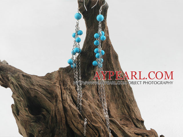 Fashion Long Chain Style 6-8Mm Round Blue Turquoise Ball Dangle Earrings
