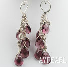 purple crystal earrings with heart tibet silver charms