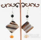 fashion black and orange agate earrings