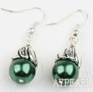 Simple Style Dark Green Color Shell Beads Earrings