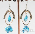 lovely sea blue crystal earrings on gold tone loop with rhinestone
