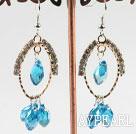 Wholesale lovely sea blue crystal earrings on gold tone loop with rhinestone