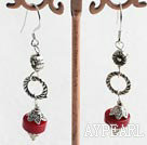 red coral earrings with 925 silver hook