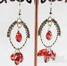 Wholesale lovely red crystal earrings on gold tone loop with rhinestone