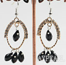 Wholesale lovely black crystal earrings on gold tone loop with rhinestone