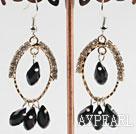 Wholesale lovely black crystal earrings on gold tone loop with rhinestone