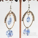 Wholesale lovely light blue crystal earrings on gold tone loop with rhinestone