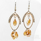 Wholesale lovely yellow crystal earrings on gold tone loop with rhinestone