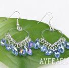 Wholesale lovely mandmade light blue crystal earrings on heart metal loop