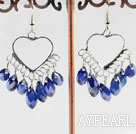 lovely mandmade deep blue crystal earrings on heart metal loop