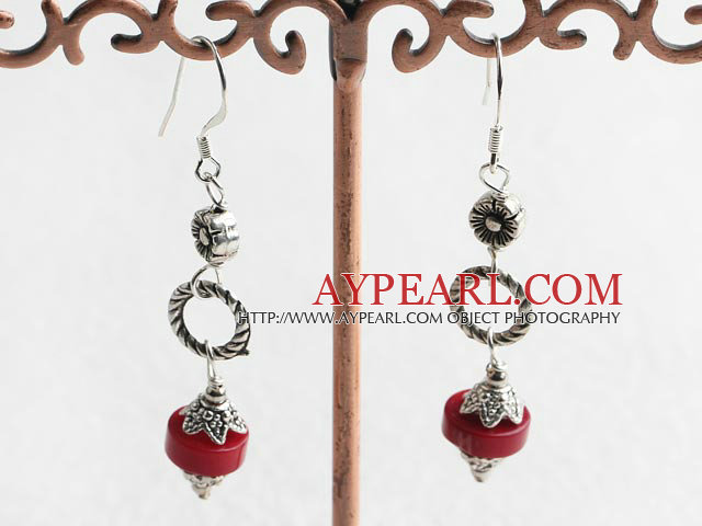 Lovely Red Donut Coral Looped Cap And Flower Charm Dangle Earrings