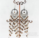 Wholesale chandelier style gold brown manmade crystal earrings