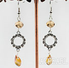 Wholesale dangling yellow manmade crystal earrings with rhinestone
