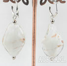 Cute style Woven shape white colored glaze earrings