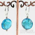Cute style flat round blue colored glaze earrings