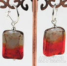 Cute style rectangle shape gradient colored glaze earrings