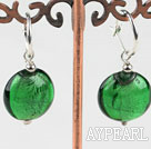 Wholesale Cute style flat round green colored glaze earrings