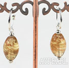 Cute style horse eye shape champagne colored glaze earrings