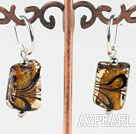 Wholesale Cute style rectangle shape painted amber color colored glaze earrings