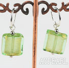 Wholesale Cute style square shape yellow green colored glaze earrings