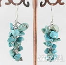 Wholesale 6-7mm cluster style turquoise chips earrings