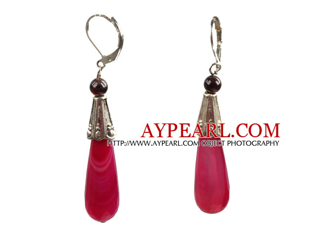 Summer Style Garnet Drop Shape Rose Red Agate Dangle Earrings With Lever Back Hook