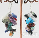6-7mm cluster style multi color gemstone chips earrings
