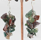 6-7mm cluster style indian agate chips earrings