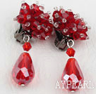 Big Style Red Color Faceted Drop Crystal Clip Earrings