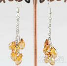 Wholesale dangling style drop shape light yellow manmade crystal earrings