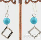 Nice 8Mm Round Blue Turquoise And Hollow Rhombus Metal Dangle Earrings