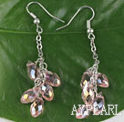 dangling style drop shape pink manmade crystal earrings