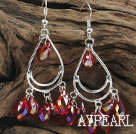cute drop shape red manmade crystal earrings